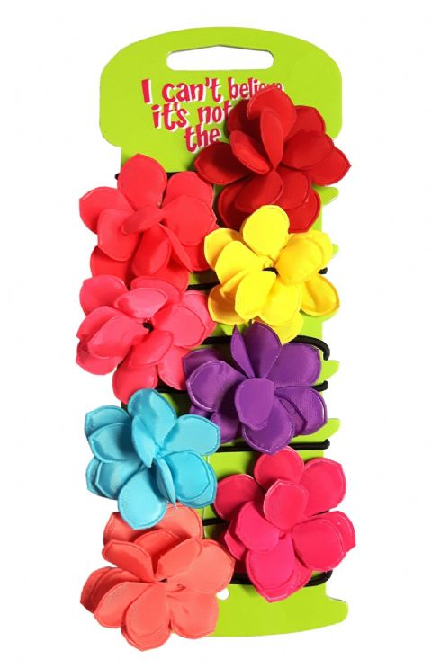 8 Bright Flower Hair Elastics